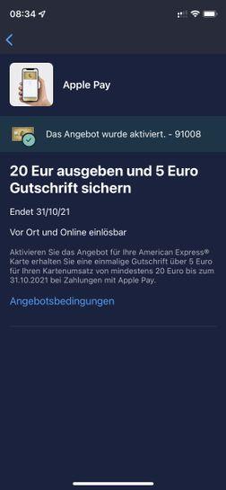 Amex Offer Apple Pay 10€ Gutschrift bei 10€ Umsatz - mydealz.de