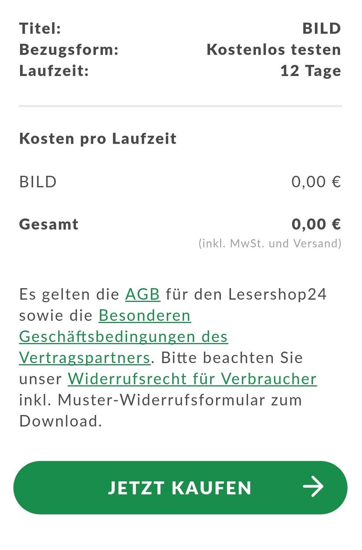 Bild Zeitung 12 Tage Kostenfrei Testen Mit 5 Euro Münze Als Prämie
