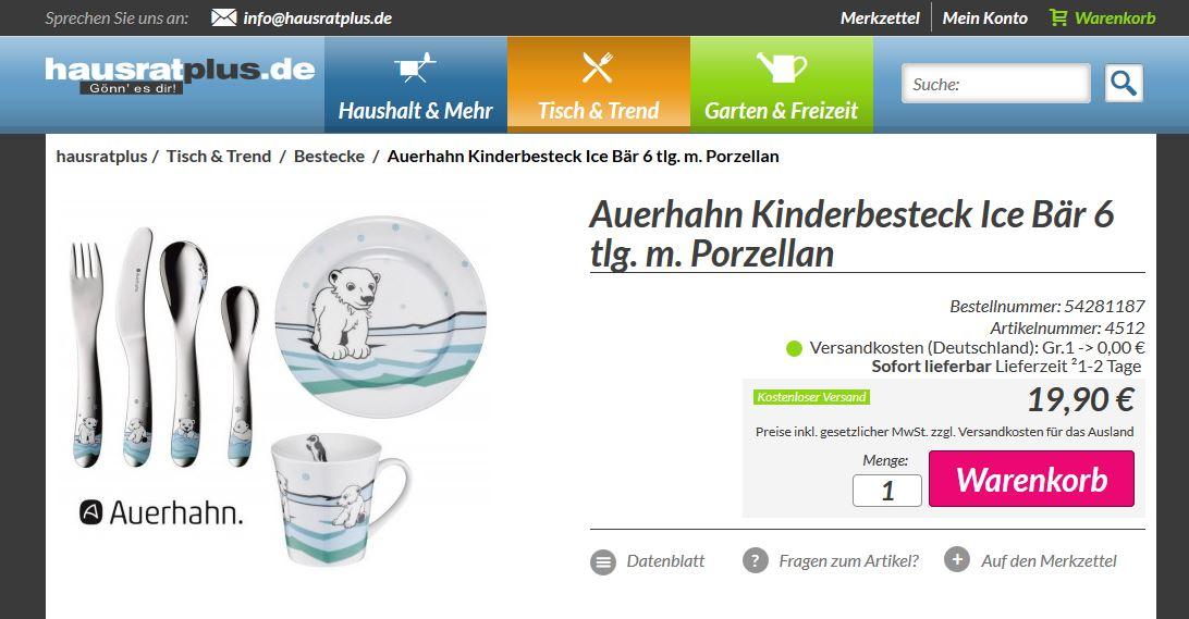 auerhahn 6 tlg kinder set ice bear besteck tasse teller f r 15 98. Black Bedroom Furniture Sets. Home Design Ideas