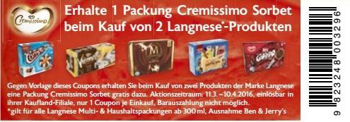 kaufland kw 11 gratis sorbet coupon beim kauf von 2 langnese produkten. Black Bedroom Furniture Sets. Home Design Ideas