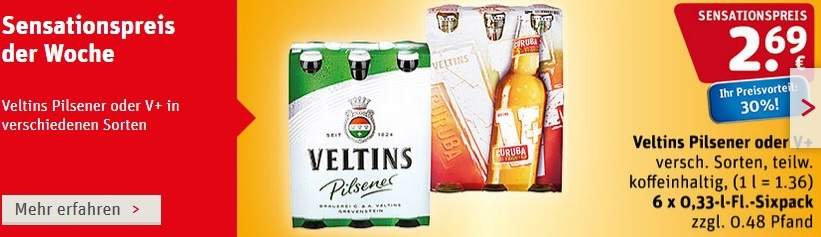 Rewe Bundesweit Veltins V Sixpack Für 269 Mydealzde