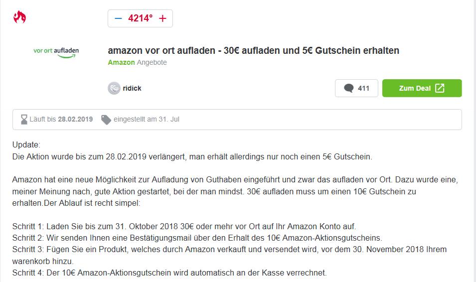 c4f4bff8bc42e8 Amazon vor Ort aufladen: 10€ Gutschein bei 30€ Aufladung - mydealz.de