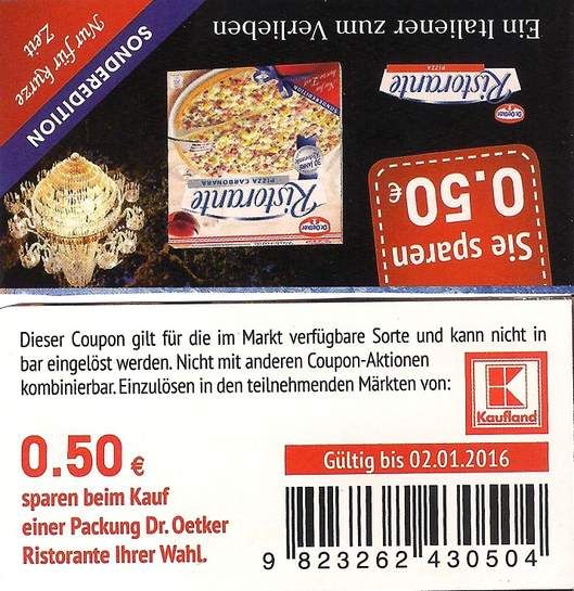 kaufland dr oetker pizza ristorante 1 38 angebot coupon. Black Bedroom Furniture Sets. Home Design Ideas