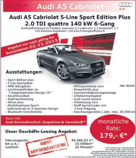 audi a5 cabriolet 2 0tdi quattro 190ps leasing nur 179. Black Bedroom Furniture Sets. Home Design Ideas
