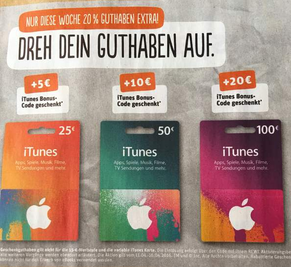 rewe itunes codes 20 extra guthaben ab 25. Black Bedroom Furniture Sets. Home Design Ideas