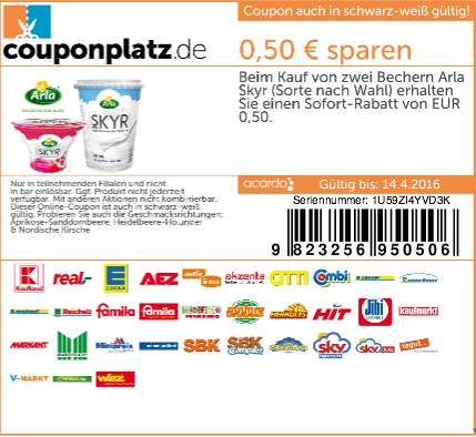 kaufland bw by kw15 arla skyr frucht joghurt 65 angebot coupon. Black Bedroom Furniture Sets. Home Design Ideas