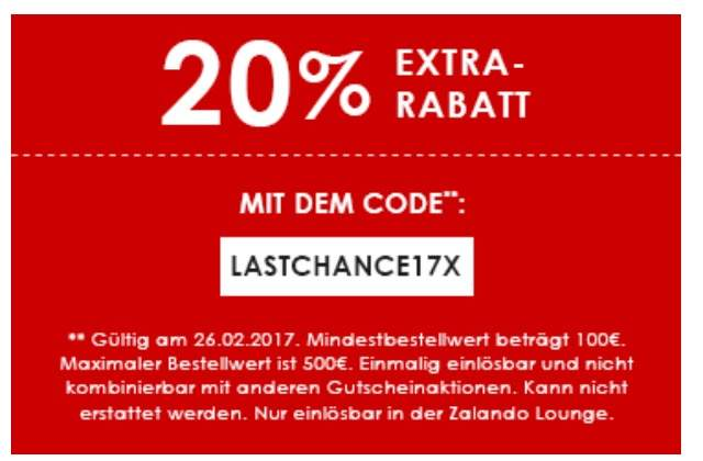 zalando lounge discount mania rabatt bis 85 20 gutschein mbw 100. Black Bedroom Furniture Sets. Home Design Ideas