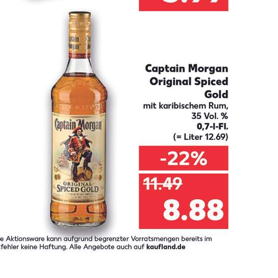 Kaufland bundesweit ab 27.07] Captain Morgan Original Spiced Gold ...