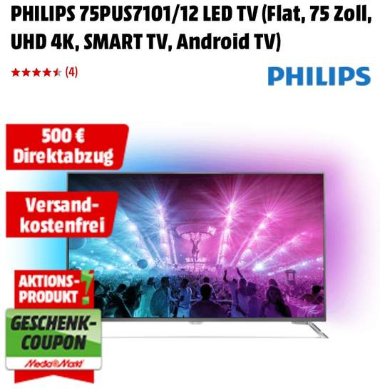 philips 75pus7101 12 189 cm 75 zoll uhd 4k ambilight 3. Black Bedroom Furniture Sets. Home Design Ideas