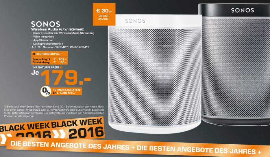 sonos play 1 saturn 30 euro direkt abzug bundesweit ab. Black Bedroom Furniture Sets. Home Design Ideas