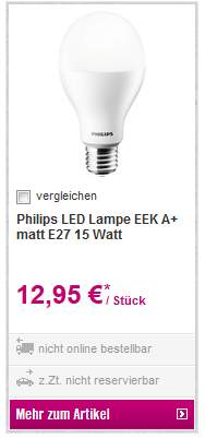 OBI Offline 15 Watt Philips LED Lampe 100 Birnen Ersatz