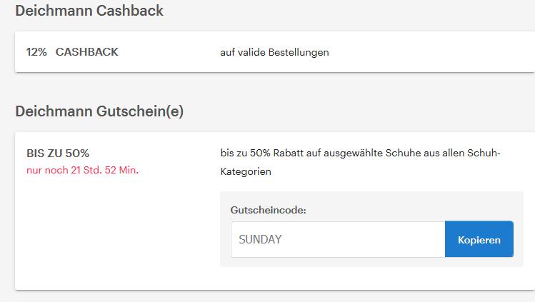 Deichmann Sunday Deal 50% auf ausgewählte Artikel z.Bsp