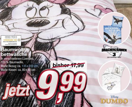 Kik Bettwäsche Minnie Maus Oder Dumbo 135x200cm 80x80cm Je 999