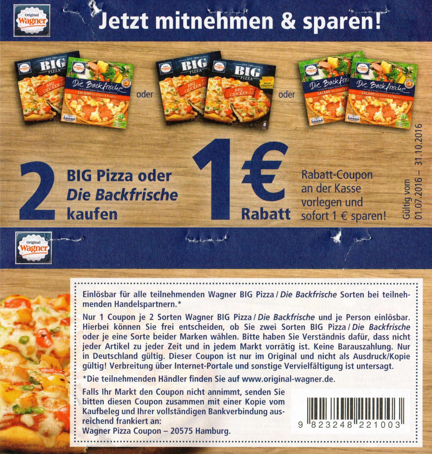 bundesweit neuer 1 00 sofort rabatt coupon auf 2x wagner big pizza oder backfrische. Black Bedroom Furniture Sets. Home Design Ideas