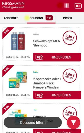 rossmann liste coupons