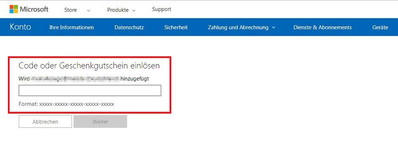 Microsoft Store Gutschein einloesen