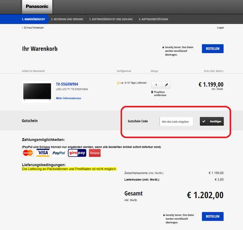 Panasonic Online-Shop Gutschein