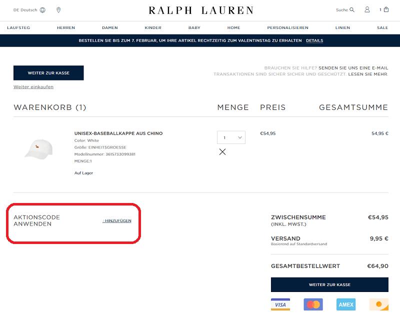a40643ccaad Ralph Lauren Gutschein ⇒ 5€ Rabatt
