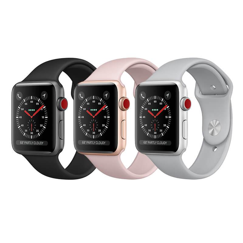 apple watch 3 in drei verschiedenen farbvarianten: schwarz, pink und silber