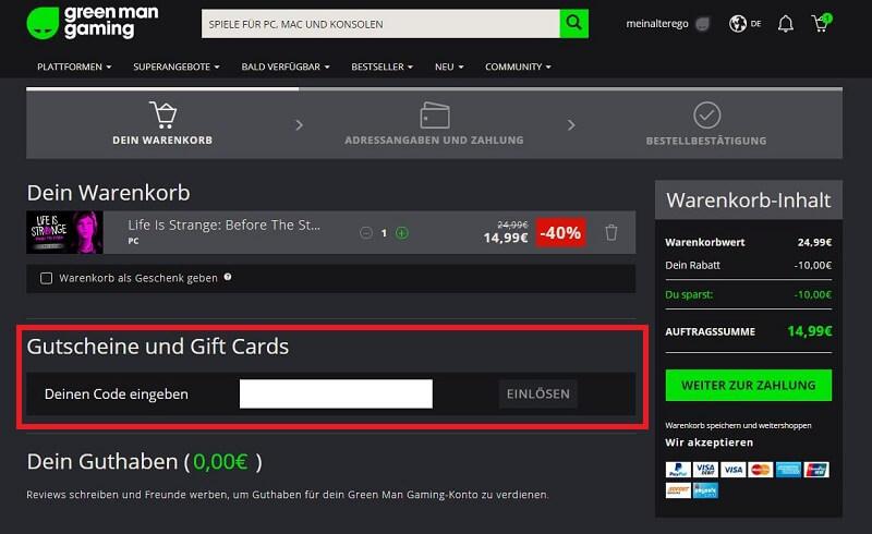 Green Man Gaming Gutschein einloesen