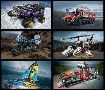 Lego Technic Sortiment Gelaendewagen Boot Feuerwehr Motorrad Hubschrauber