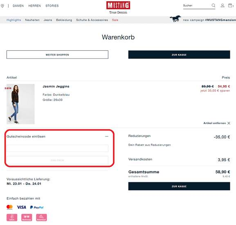 MUSTANG Store Gutschein