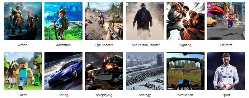 Coolshop Videospiel Genres