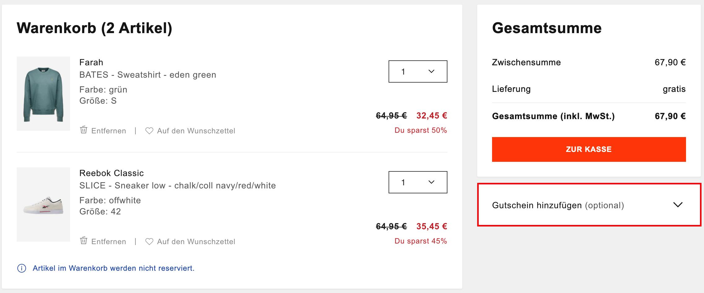 10% Rabatt auf ausgewählte Artikel bei zalando, z.B. adidas