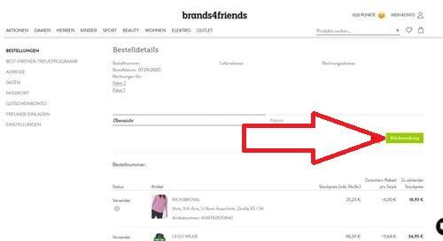 Brands4friends Rücksendung
