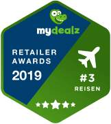 badge für mydealz retailer awards 2019 in der kategorie travel für expedia