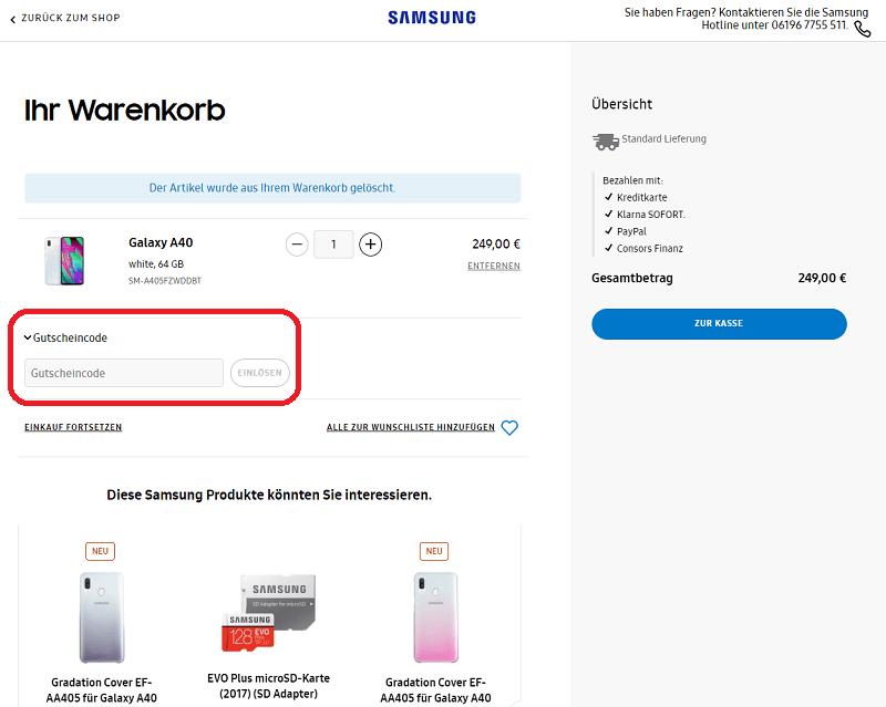 Samsung Shop Gutschein
