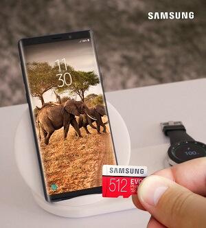 Samsung Shop Smartphone und Speicherkarte