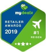 badge für mydealz retailer awards 2019 in der kategorie reisen für skyscanner