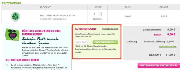 Gutscheine beim The Body Shop Online-Shop einlösen