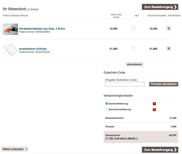 Gutscheincode im AEG Online-Shop einlösen
