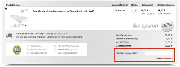 Gutschein im BilligArena.de Online-Shop einlösen