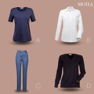 Verschiede Outfits zur Auswahl beim Mona Mode-Berater