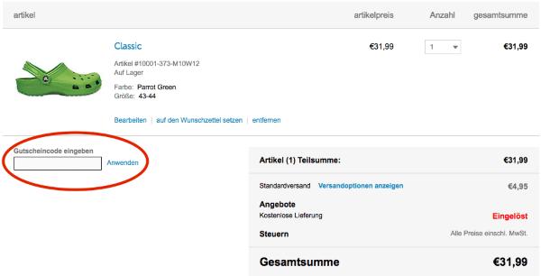 Gutscheincode beim Crocs.de Online-Shop einlösen
