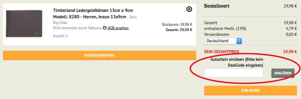 Gutscheincode bei Dealclub.de einlösen