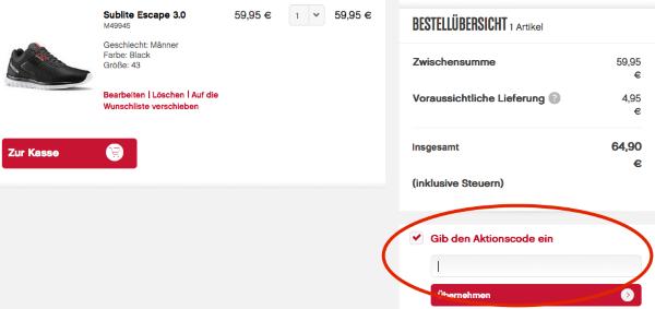 Aktionscode im Reebok Online-Shop einlösen