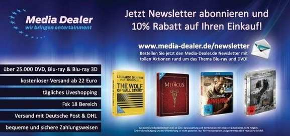 Media Dealer Newsletter 10% Rabatt