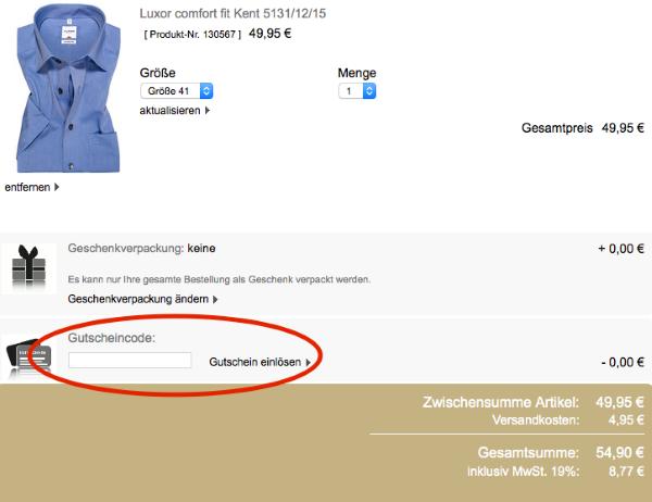 Gutscheincode im Olymp Online-Shop einlösen