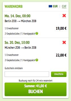 Gutschein bei MeinFernbus.de einlösen