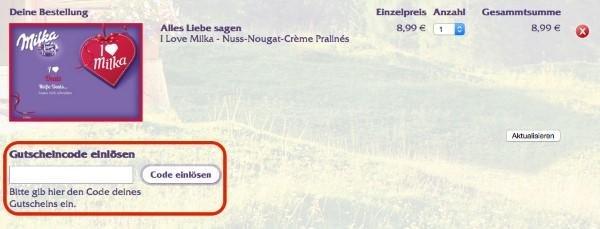 Gutscheincode bei Milka.de einlösen