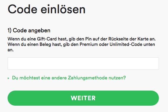 Spotify Gutscheincode
