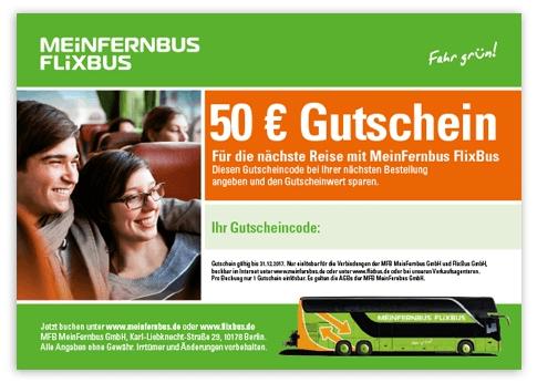 50 Euro FlixBus Gutschein