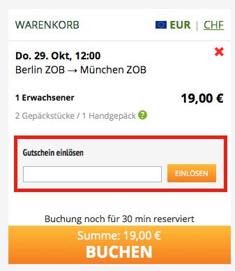 Gutschein bei FlixBus.de einlösen