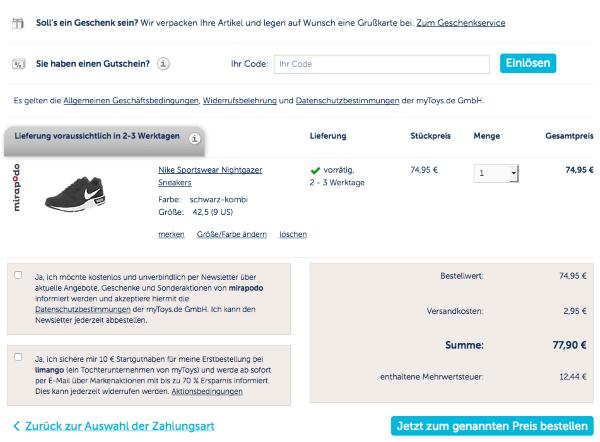 Gutschein einlösen bei Mirapodo.de
