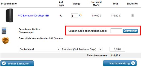 Coupon-Code beim WD Online-Shop einlösen