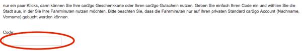 Gutscheincode von car2go einlösen